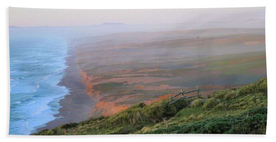 Bluffs And South Beach Bath Sheet featuring the photograph Bluffs And South Beach Point Reyes by Bonnie Follett