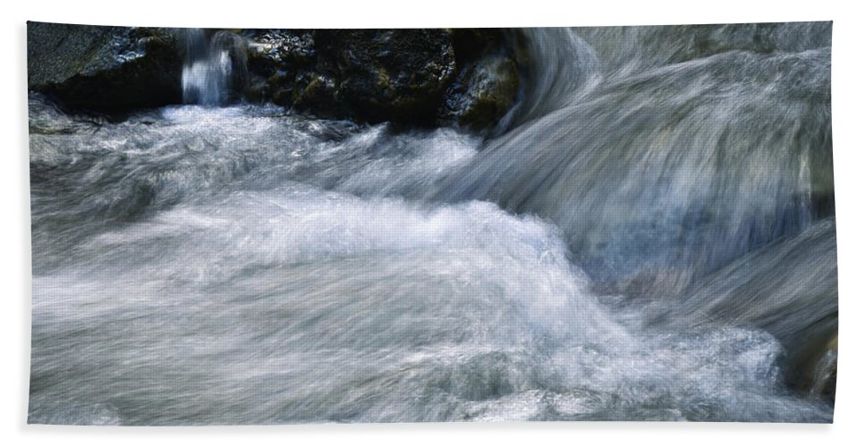 Reflection Bath Sheet featuring the photograph Blurred Detail Of A Mountain Stream by Jozef Jankola