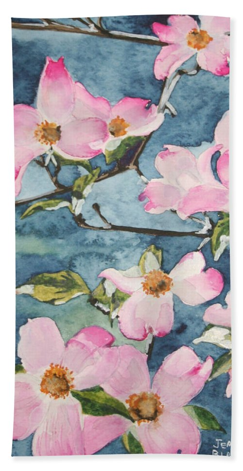 Flowers Hand Towel featuring the painting Blushing Prettily by Jean Blackmer