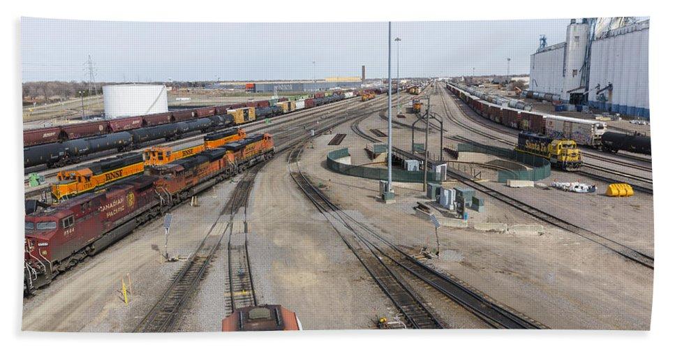 Train Hand Towel featuring the photograph Bnsf Northtown Yard 6 by John Brueske