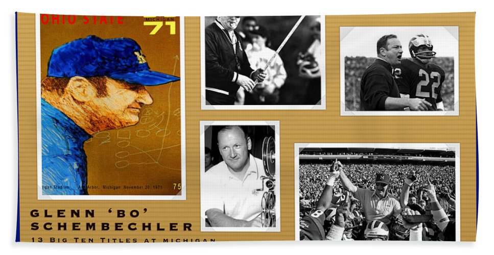 Bo Schembechler Hand Towel featuring the painting Bo Schembechler Legend Five Panel by John Farr