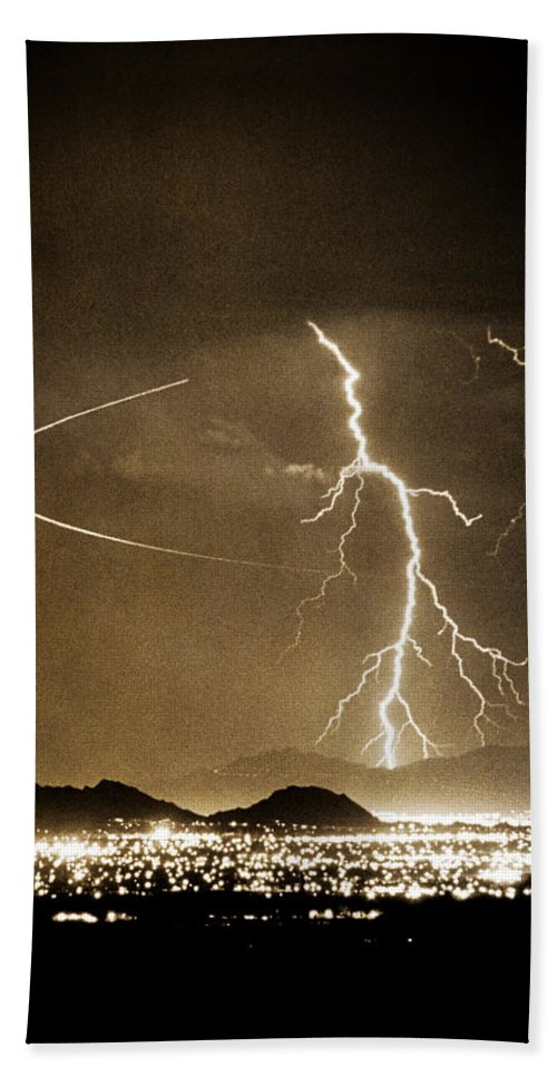 Lightning Bath Towel featuring the photograph Bo Trek Lightning Art by James BO Insogna