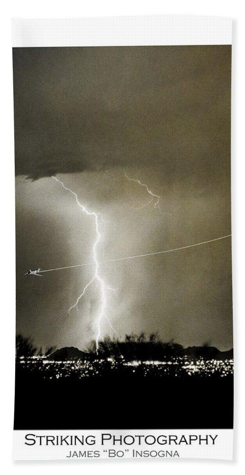 Lightning Hand Towel featuring the photograph Bo Trek Lightning Bw Fine Art Poster Print by James BO Insogna