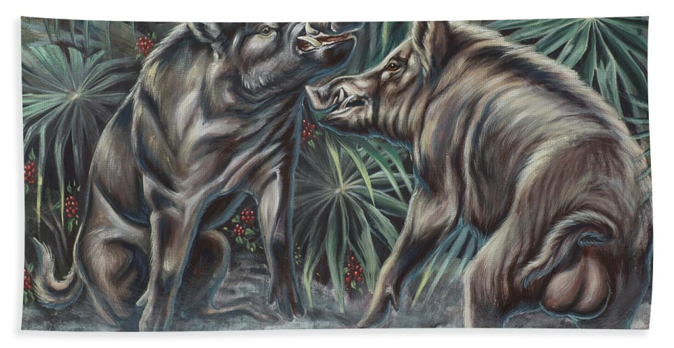 Nature Bath Sheet featuring the photograph Boar Room Brawl by Monica Turner