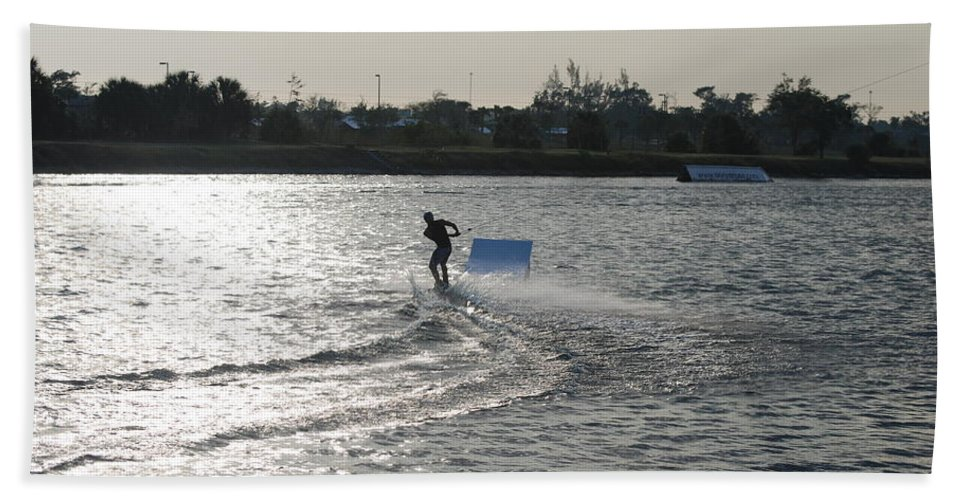Waves Hand Towel featuring the photograph Board Jump by Rob Hans