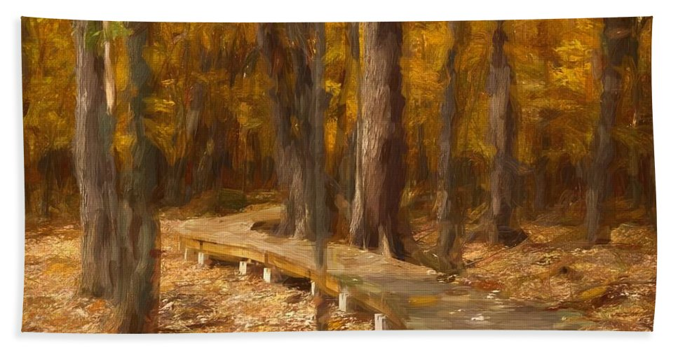 Abstract Hand Towel featuring the photograph Boardwalk Through The Woods by Robert Kinser
