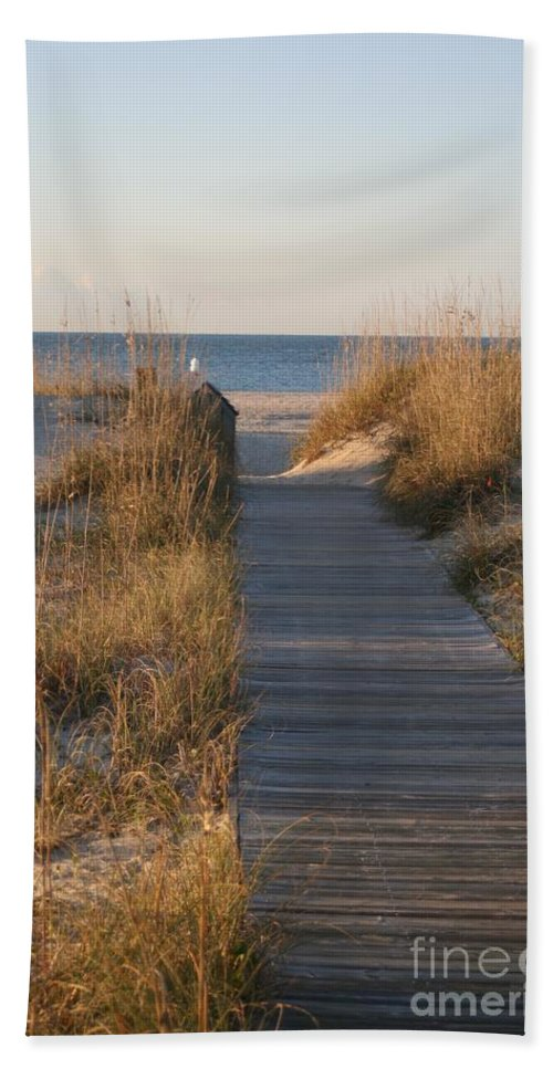 Boardwalk Hand Towel featuring the photograph Boardwalk To The Beach by Nadine Rippelmeyer