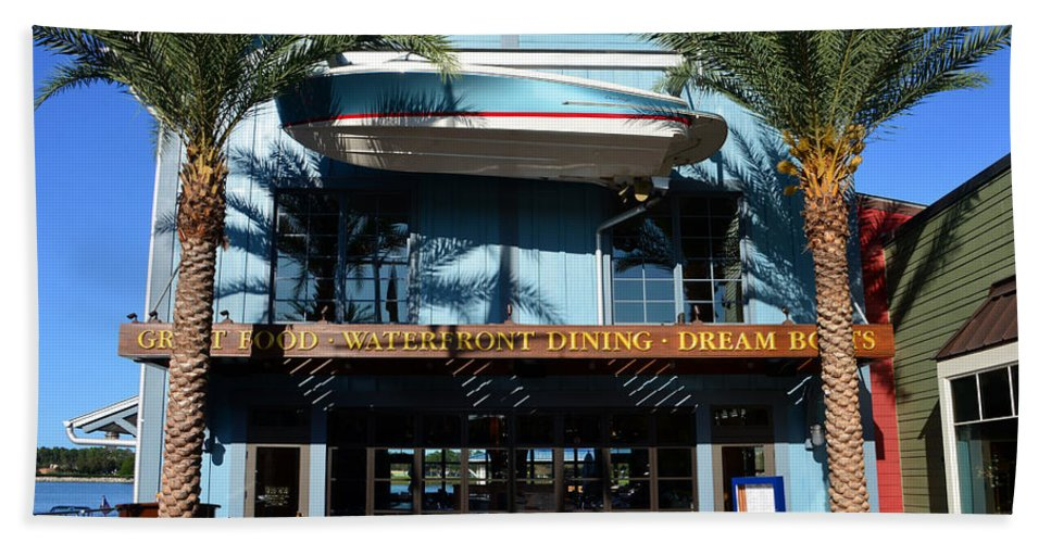 Boathouse Disney Springs Florida Bath Towel featuring the photograph Boathouse Front by David Lee Thompson