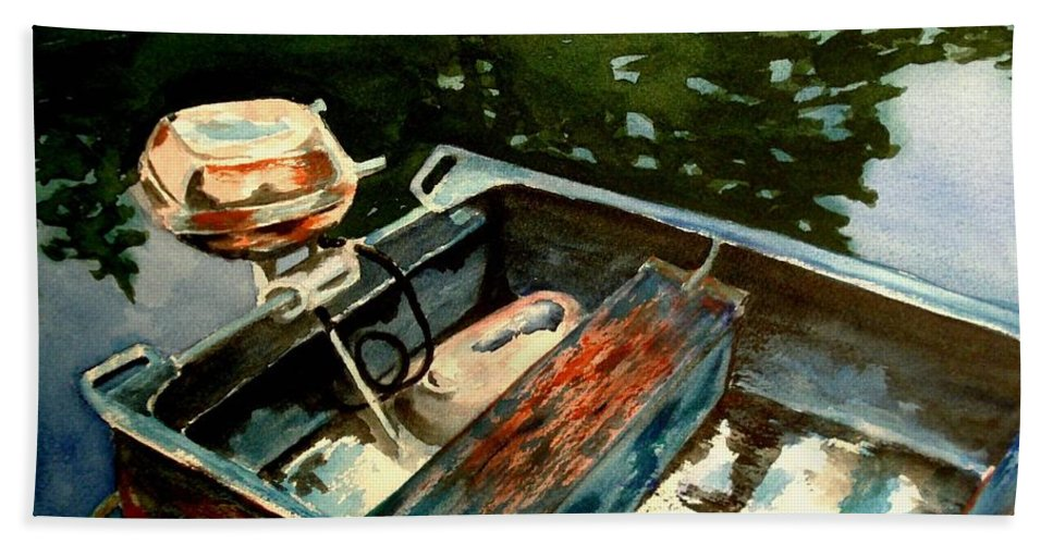 Boat Hand Towel featuring the painting Boat In Fog 2 by Marilyn Jacobson