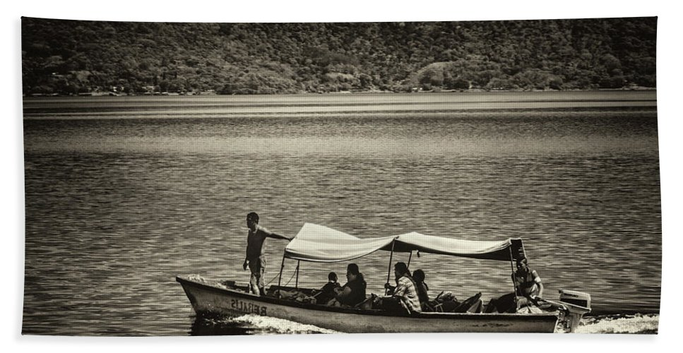 Ferry Hand Towel featuring the photograph Boat - Lago De Coatepeque, El Salvador by Totto Ponce
