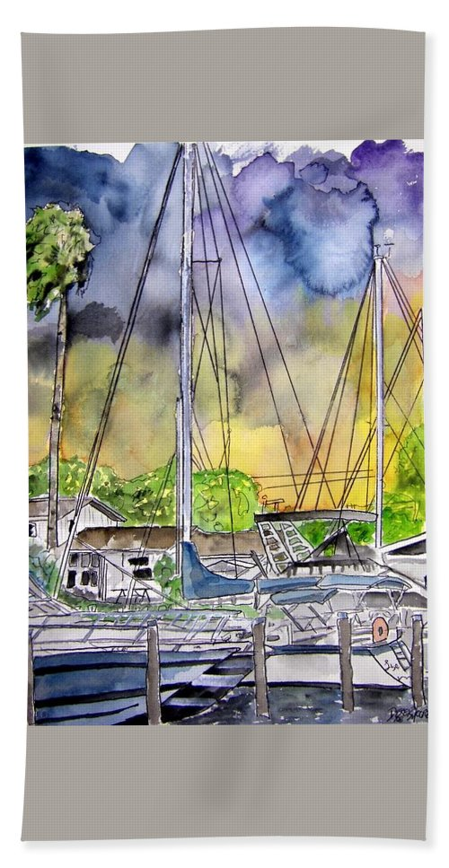 Marina Hand Towel featuring the painting Boat Marina by Derek Mccrea