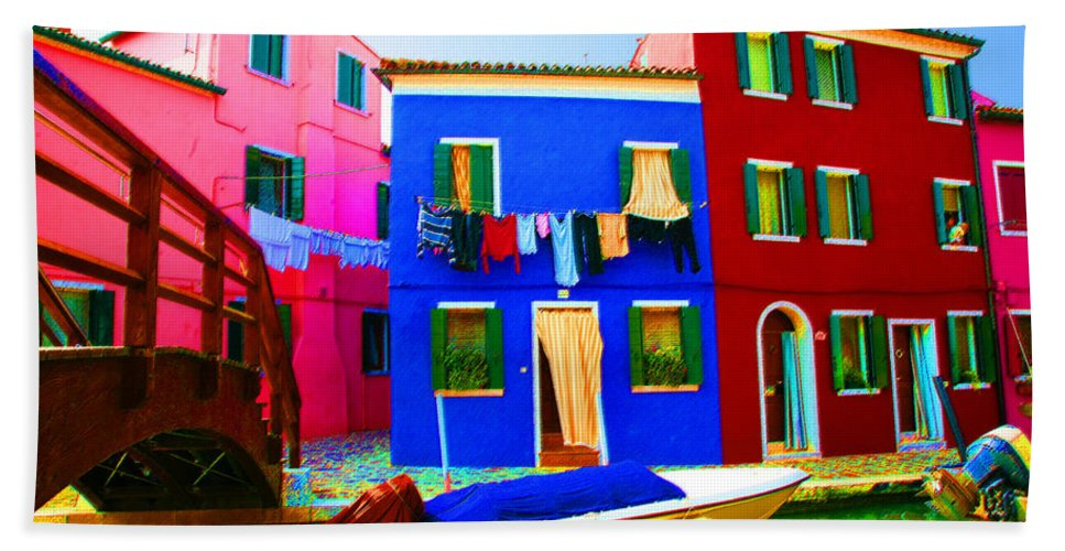 Burano Bath Towel featuring the pastel Boat Matching House by Donna Corless