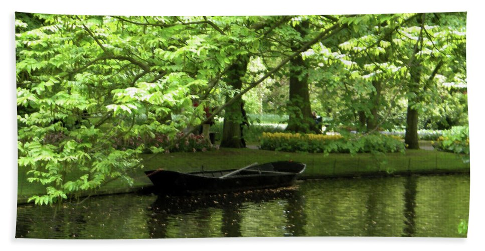 Boat Hand Towel featuring the photograph Boat On A Lake by Manuela Constantin