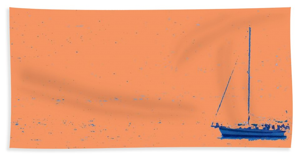 Boat Hand Towel featuring the photograph Boat On An Orange Sea by Ian MacDonald