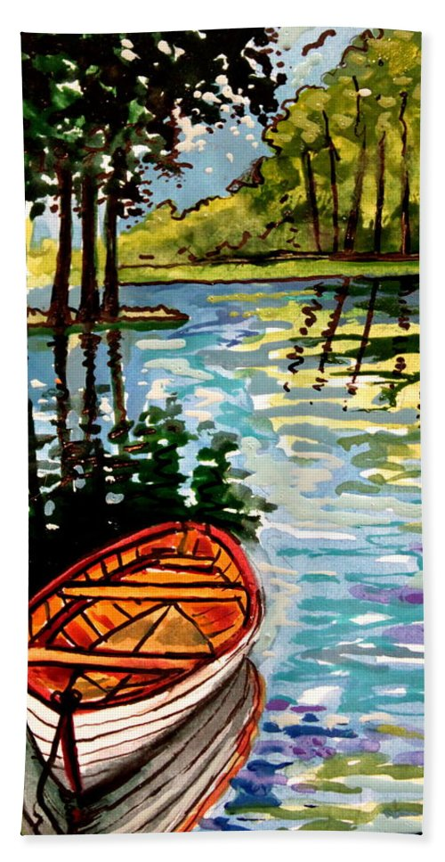 Boat Hand Towel featuring the painting Boat On The Bayou by Elizabeth Robinette Tyndall