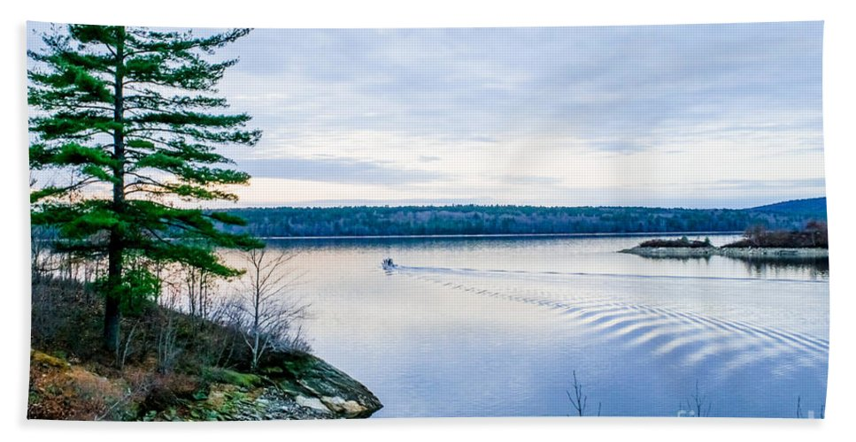 Hand Towel featuring the photograph Boat On The Lake by Libby Lord