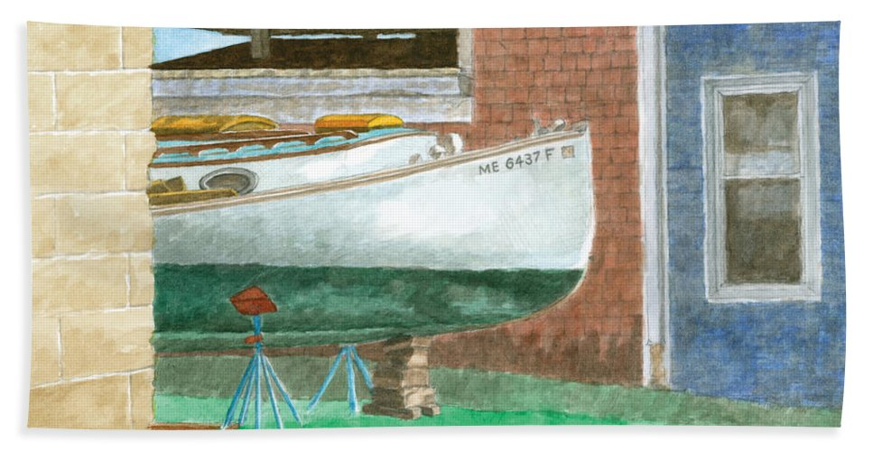 Boat Hand Towel featuring the painting Boat Out Of Water - Portland Maine by Dominic White