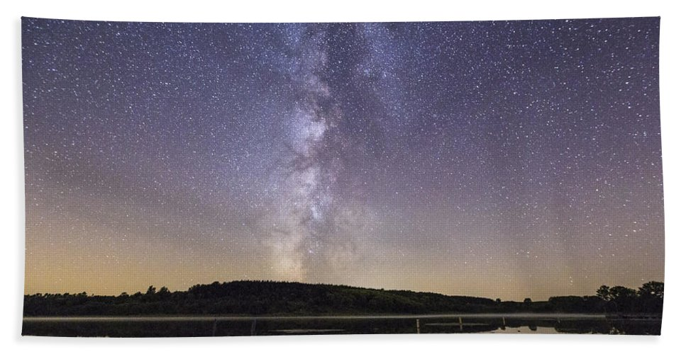 Milky Way Hand Towel featuring the photograph Boat Ramp by Aaron J Groen