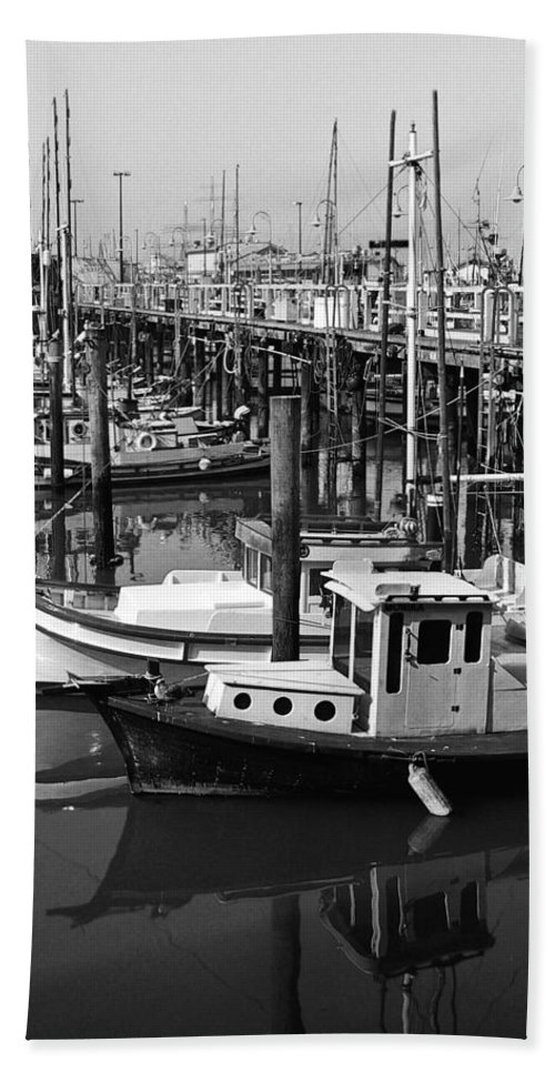Boats Hand Towel featuring the photograph Boat Reflections by Tom Reynen