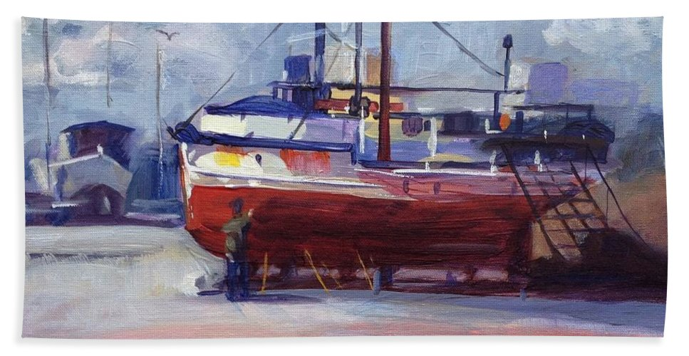 Boat Hand Towel featuring the painting Boat Reparing by Elena Sokolova