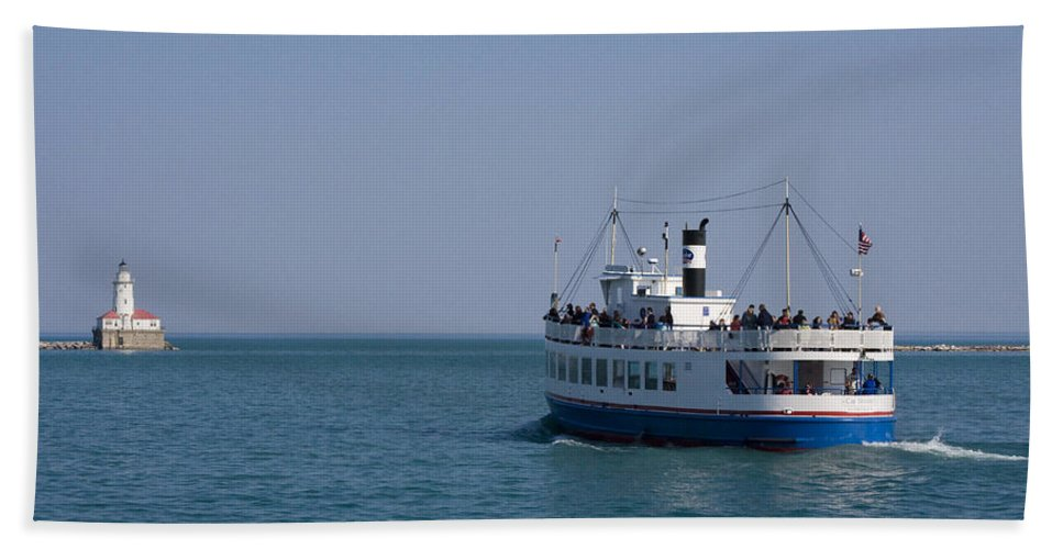 Boat Ride Chicago Windy City Tourist Tourism Travel Water Lake Michigan Attraction Blue Sky Hand Towel featuring the photograph Boat Ride by Andrei Shliakhau