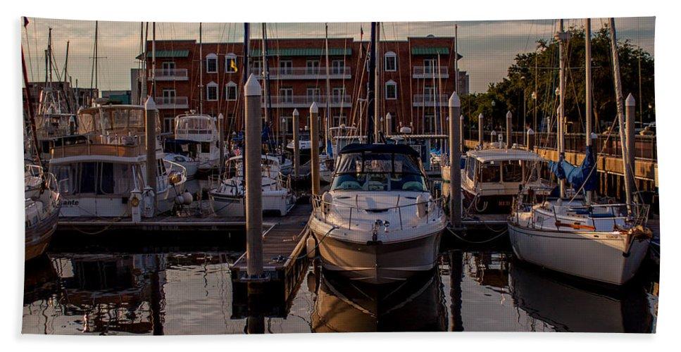 Boat Slip Bath Sheet featuring the photograph Boat Slip by Mechala Matthews