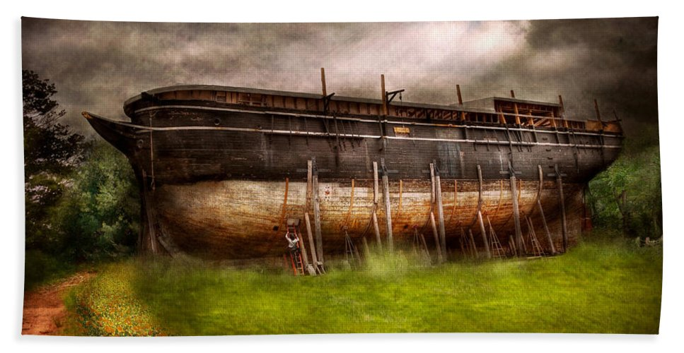 Suburbanscenes Bath Sheet featuring the photograph Boat - The Construction Of Noah's Ark by Mike Savad