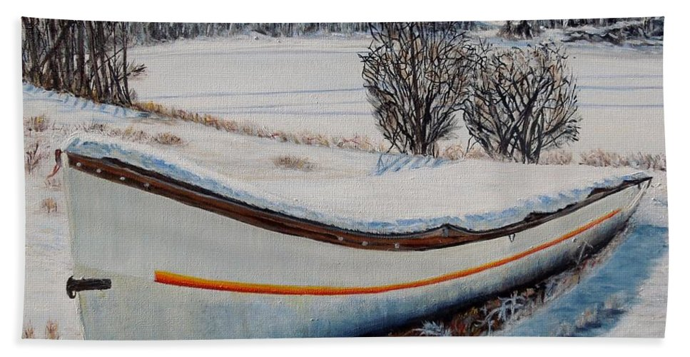 Boat Bath Sheet featuring the painting Boat Under Snow by Marilyn McNish