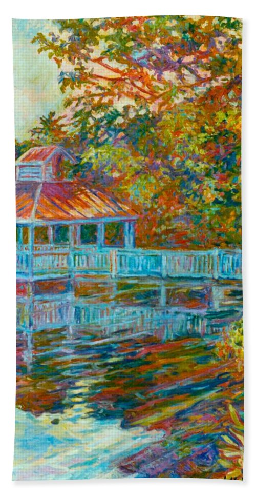 Mountain Lake Bath Towel featuring the painting Boathouse At Mountain Lake by Kendall Kessler