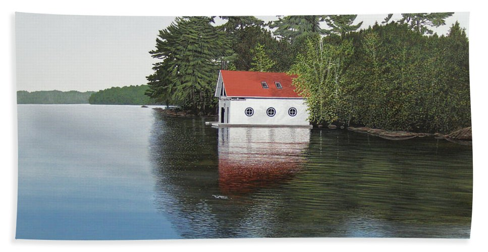 Canoe Bath Towel featuring the painting Boathouse by Kenneth M Kirsch