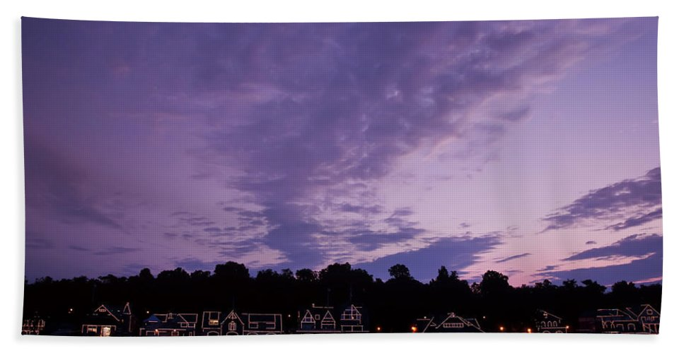 Boathouse Row In Twilight Bath Sheet featuring the photograph Boathouse Row In Twilight by Bill Cannon