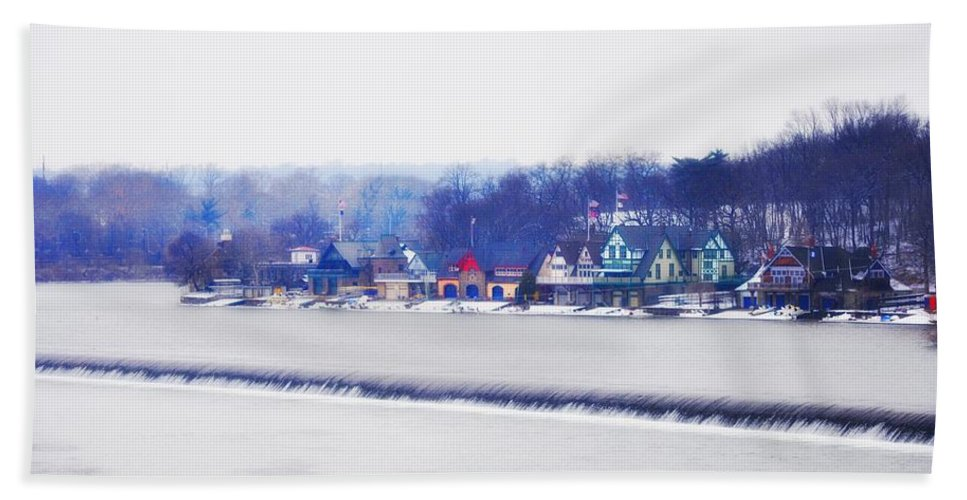 Boathouse Row Hand Towel featuring the photograph Boathouse Row In Winter by Bill Cannon