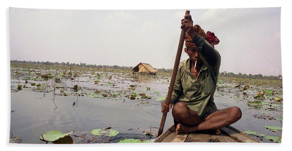 Cambodia Bath Sheet featuring the photograph Boatman - Battambang by Patrick Klauss