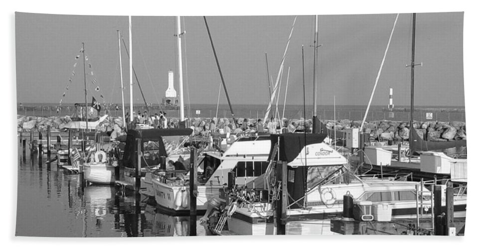 Sailboats Bath Sheet featuring the photograph Boats And Reflections B-w by Anita Burgermeister