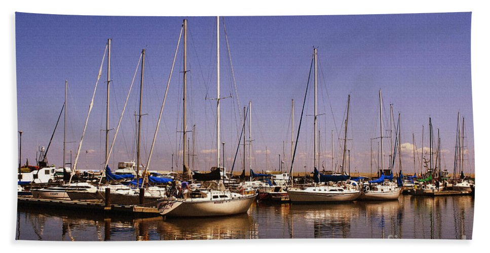 Boats Hand Towel featuring the photograph Boats And Reflections by Teresa Zieba