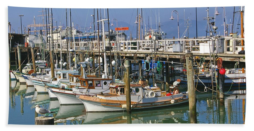 Boats Bath Sheet featuring the photograph Boats At Fisherman by Tom Reynen