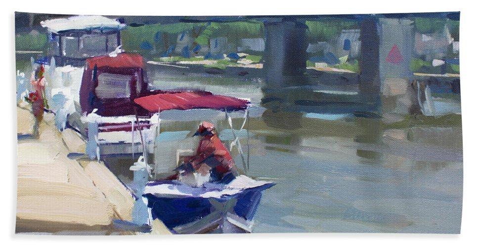 Boats Bath Sheet featuring the painting Boats At North Tonawanda Canal by Ylli Haruni