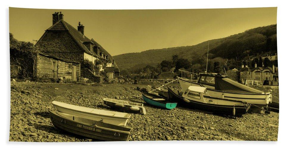 Porlock Bath Sheet featuring the photograph Boats At Porlock Weir by Rob Hawkins
