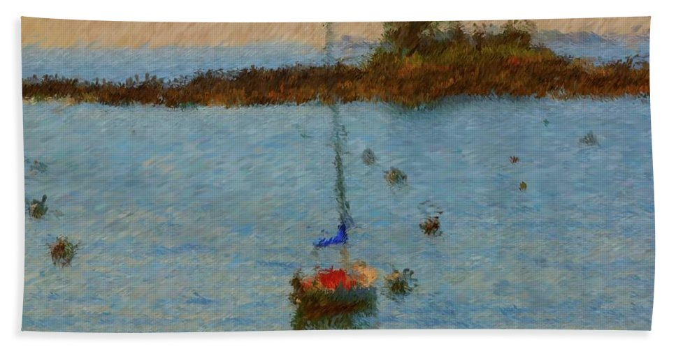 Sail Boat Bath Sheet featuring the painting Boats At Smugglers Cove Boothbay Harbor Maine by Viktor Arsenov