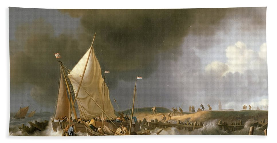 Ludolf Bakhuizen Bath Sheet featuring the painting Boats In A Storm by Ludolf Bakhuizen