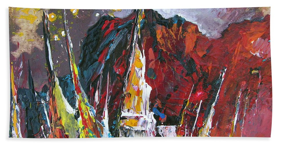 Boats Painting Seacape Spain Acrylics Calpe Costa Blanca Bath Towel featuring the painting Boats In Calpe 01 Spain by Miki De Goodaboom