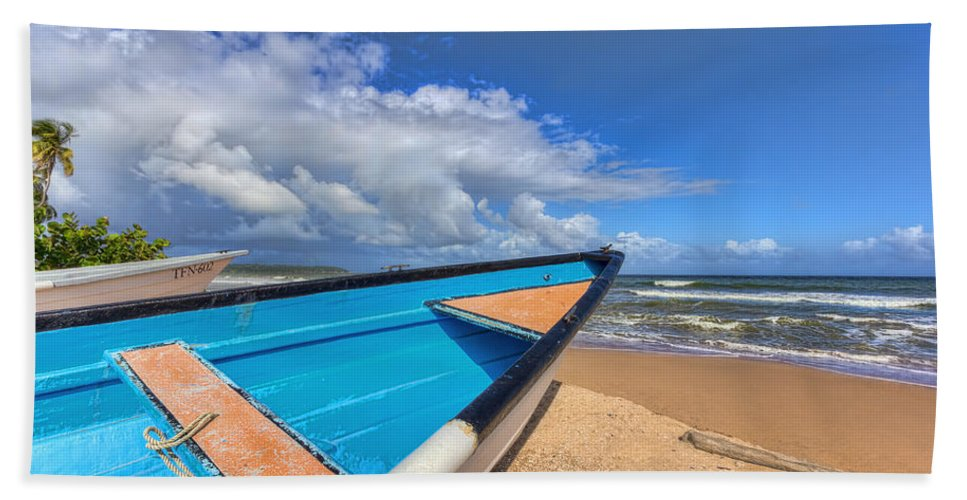Waves Bath Sheet featuring the photograph Boats In Mayaro by Nadia Sanowar