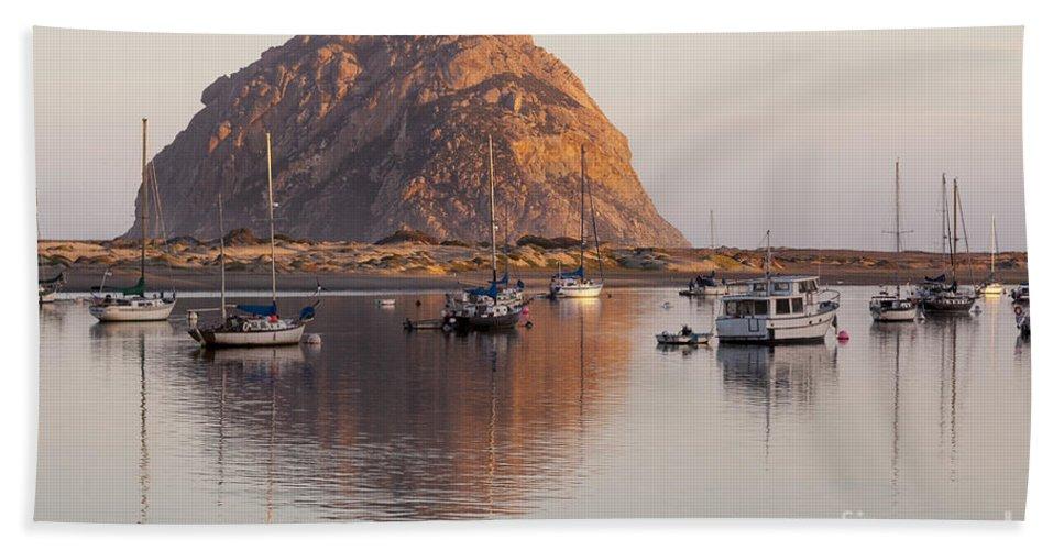 Morro Rock Bath Sheet featuring the photograph Boats In Morro Rock Reflection by Sharon Foelz