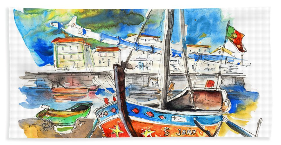 Portugal Hand Towel featuring the painting Boats in Tavira in Portugal 02 by Miki De Goodaboom