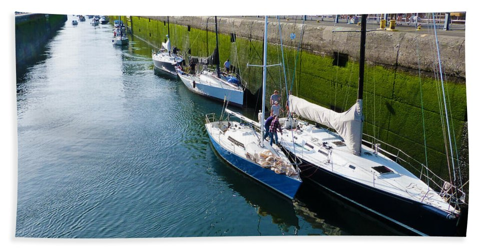 Boat Bath Sheet featuring the photograph Boats Moving Into Chittenden Locks Seattle by Susan Porter