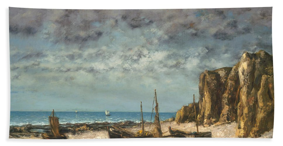 Hand Towel featuring the painting Boats On A Beach, Etretat by Gustave Courbet