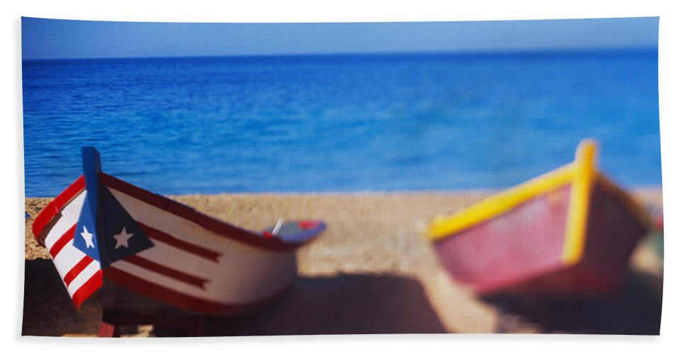 Photography Bath Sheet featuring the photograph Boats On The Beach, Aguadilla, Puerto by Panoramic Images