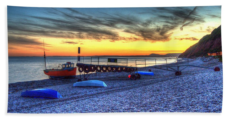 Boats Hand Towel featuring the photograph Boats On The Beach At Branscombe by Rob Hawkins