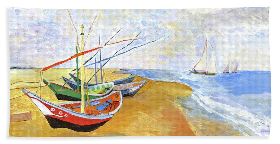 van Gogh Hand Towel featuring the painting Boats On The Beach At Saintes-maries After Van Gogh by Rodney Campbell