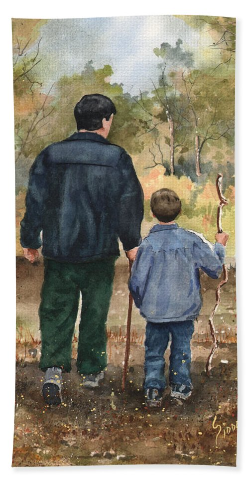 Walk Bath Sheet featuring the painting Bob And Alex by Sam Sidders